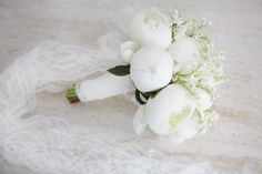 Peony and lily of the valley bouquet