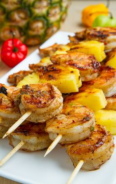 Grilled Jerk Shrimp and Pineapple Skewers. recipes chicken pineapple Grilled Jerk Shrimp and Pineapple Skewers Skewer Recipes, Fish Recipes, Seafood Recipes, Dinner Recipes, Skewer Appetizers, Fruit Recipes, Drink Recipes, Dessert Recipes, Prawn Recipes