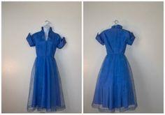 50s Dress // Vintage 1950's blue Taffeta by pinkvintageboudoir, $62.00
