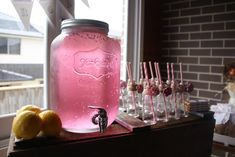 Pink Lemonade in decanters would be super cute for Sheriff Callie party