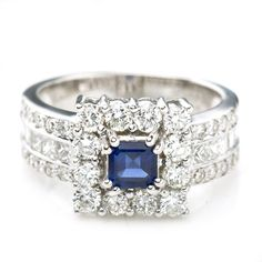 18K White Gold .50 CTTW Sapphire & 2.0 CTTW Diamond Ring $2000 #Sapphire #Diamond #Ring