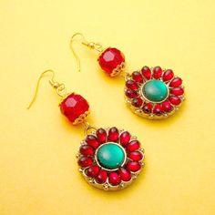 Red crystal flower earrings