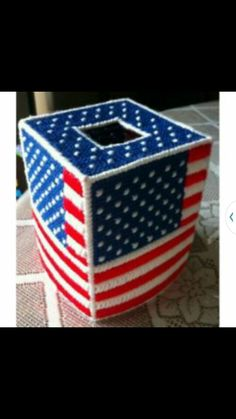 Plastic canvas 4th of July tissue box covers