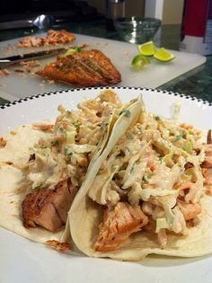 Grilled Salmon Tacos with Spicy Lime Coleslaw