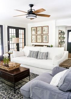That Fan!!! Modern French Farmhouse Summer Home Tour | blesserhouse.com - A summer home tour with modern French farmhouse style using inexpensive decorating tricks and ways to stretch your dollar to look luxe on a budget, plus 8 more tours of gorgeous homes styled for summer!