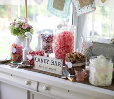 CANDY BAR love is sweet Self Standing Sign / Hand Painted Shabby Vintage Wedding Signs / ORIGINAL Design by The Back Porch Shoppe 4 3/4 x 12