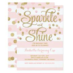 Girl 1st Birthday Invitation Pink And Gold Invite Birthday Gift Present