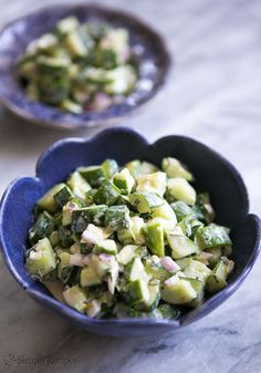Cucumber Salad with Tahini Dressing ~ Cucumbers are great with hummus, right? This cucumber salad recipe is like chopped cucumbers with a little hummus mixed in, in the form of a sesame tahini dressing. So good! #healthy #easy Recipe on SimplyRecipes.com