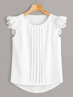To find out about the Solid Contrast Lace Blouse at SHEIN, part of our latest Blouses ready to shop online today! Baby Frocks Designs, Kids Frocks Design, Dresses Kids Girl, Kids Outfits, Casual Outfits, Casual Shirts, Blouse Styles, Blouse Designs, Frock Design