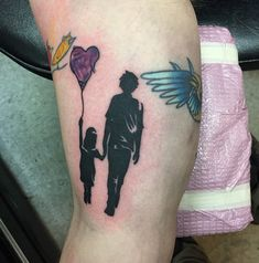 Father and Daughter Silhouettes ... cool idea for a tattoo. Has a Banksy feel to it?
