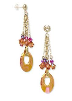 Dramatic Dangle Earrings featuring Swarovski crystal #astralpink beads and drops. #DIYEarrings with step-by-step instructions. #diyjewelry #diyjewelrymaking #beading