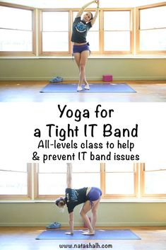 Yoga for a tight IT band. All levels free yoga class for a tight IT band. Help IT band problems or prevent them from occurring with this free yoga class! #morningworkout #morningworkouttips #fitnessworkouts #workoutfit #healthandfitness #healthylife
