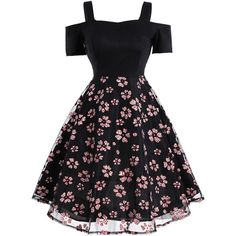 Vintage Mesh Panel Floral Dress Black 2xl ($20) ❤ liked on Polyvore featuring dresses, floral printed dress, mesh inset dress, floral dresses, vintage dresses and vintage flower print dress