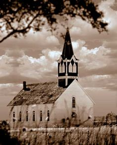 Old Rock Church in Clifton, Texas, was built in 1869. Unusual photographic style adds drama to this old chapel.