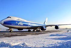 Air Bridge Cargo Boeing 747 freighter in the snow
