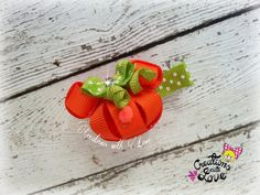Pumpkin Minnie Mouse Inspired Ribbon Sculpture Hair Clip. Thanksgiving Hair Clip. Fall Hair Clip.