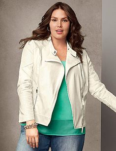 A must-have to update your wardrobe, fashion's favorite moto jacket goes white-hot with perforated detailing and zipper trim. The cropped silhouette is extremely curve-flattering worn zipped with the snapping mandarin collar or left open with fold-down lapels. Zipped cuffs and pockets complete the look. Fully lined.  lanebryant.com