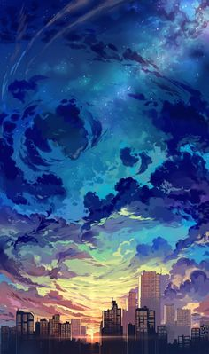 Imagen anime 1771x3000 con  original baisi shaonian tall image highres sky cloud (clouds) city evening sunset landscape no people scenic star (stars) building (buildings) skyscraper