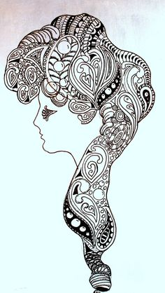 Zentangle Art in Ink on Canvas: Profile of a Lady