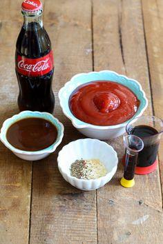 Coke, ketchup, A-1, onion powder, garlic powder, liquid smoke for Coca Cola BBQ Sauce