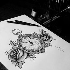 Pocket watch and roses by eddie miller