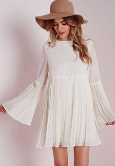 Long Sleeve Pleated Swing Dress White - Dresses - Swing Dresses - Missguided