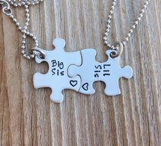 Mini rompecabezas pieza collar set mano estampada a por CMKreations