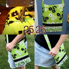 Green Ruffle Bag Tutorial I need to make this for my trip to Jamaica....small shoulder bag with zipper