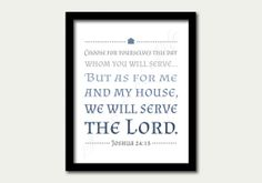 As for me and my house, we will serve the Lord. Joshua 24:15. Christian 8x10 print. PDF JPG printable. Home decor. Blue. Instant download.