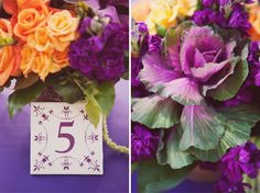 Floral Bouquet for purple and orange wedding, Stephanie Williams, tile table number