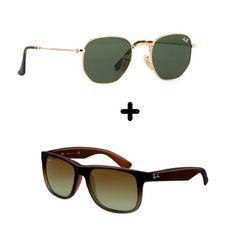 0cba9a8e6 #ConfiraEssesDoisModelosPorUmPreçoExclusivo:02 Óculos De Sol Top- 1  Hexagonal + 1 Justin Promoção