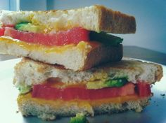 Healthy Grilled Cheese | Clean Eating | Avocado + Tomato + Sharp Cheese + Wheat Bread. I used sour dough as you see, my husband and daughter loved this!
