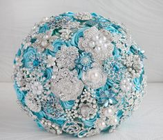 Brooch bouquet. Deposit on a  Turquoise and by MagnoliaHandmade, $60.00
