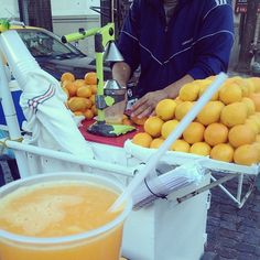 Fresh squeezed orange juice at San Telmo Sunday Market in Buenos Aires Argentina