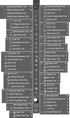keystroke shortcuts for photoshop