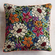 Pier 1 Imports Feliz Navidad Embroidered Poinsettia Pillow (46 ILS) ❤ liked on Polyvore featuring home, home decor, throw pillows, beaded throw pillows, christmas throw pillows, embroidered throw pillows, leaf throw pillows and sequin throw pillows