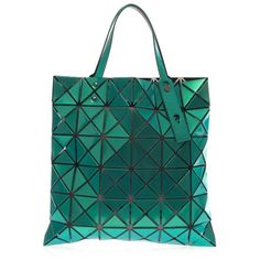 BAO BAO ISSEY MIYAKE Lucent Prism shopper (€430) ❤ liked on Polyvore featuring bags, handbags, tote bags, green, blue handbags, blue purse, green shopping bags, shopper handbags and metallic tote