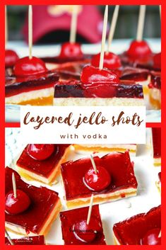 These layered jello shots are so much fun to share at a gathering like watching football, celebrating a birthday or just because! #layeredjelloshots #jelloshots #jelloshotsrecipe