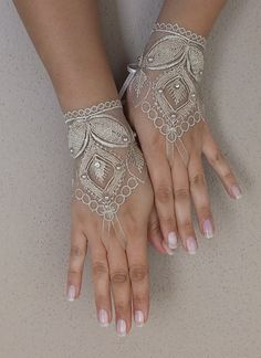 cappuccino Wedding gloves bridal gloves fingerless lace gloves beaded pearl and rhinestone free ship