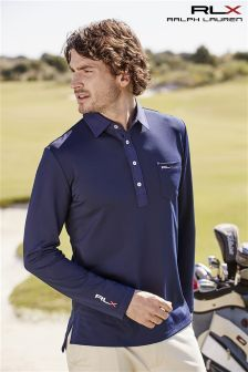 Ralph Lauren Polo Golf RLX Navy Long Sleeve Polo Printed Polo Shirts 5eb05e0583a8