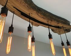 Modern Live-Edge Olive Wood Light Fixture with Lights - Rustic Industrial Chandelier* Farmhouse Light Fixtures, Farmhouse Lighting, Rustic Lighting, Cabin Lighting, Modern Lighting, Lighting Ideas, Industrial Chandelier, Wood Chandelier, Chandeliers