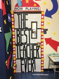 Need some great ideas for Teacher Appreciation Door decorating? I've collected 25 fantastic Teacher Appreciation Door Ideas to share with you. Teacher Door Decorations, School Decorations, School Themes, Classroom Themes, Classroom Door, Movie Classroom, Classroom Design, Teacher Treats, Teacher Gifts