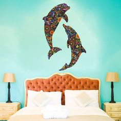 Dolphin Duo Wall Decal Set  Colorful Floral Wall Graphic