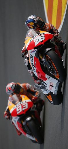 Lean in. Dani Pedrosa and Marc Márquez gear up for the 2014 campaign.