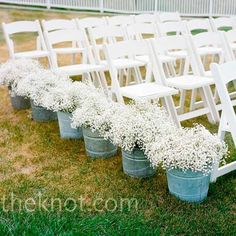 fill buckets with babys breath and line your aisle. How gorgeous does this look -:)   https://www.facebook.com/BridalWHOopons