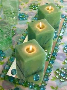 jade colored candles #decor