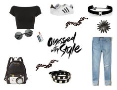"""""""Untitled #222"""" by xolafkax on Polyvore featuring Helmut Lang, Hollister Co., adidas, Betsey Johnson, Kenneth Jay Lane, Valentino and Maybelline"""