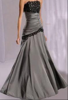 Dress Mermaid Grey Evening Strapless Taffeta Gown
