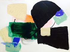 deeper hues of greens and blues with pops of brighter colors, work on paper