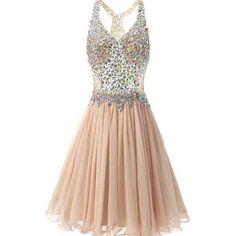 Popular Rhinestone Beaded Beige Chiffon Homecoming Dresses, SF0060